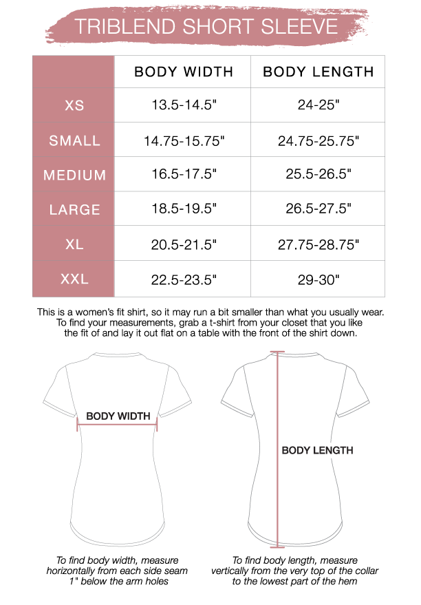 Women's Triblend Short Sleeve Sizing Chart