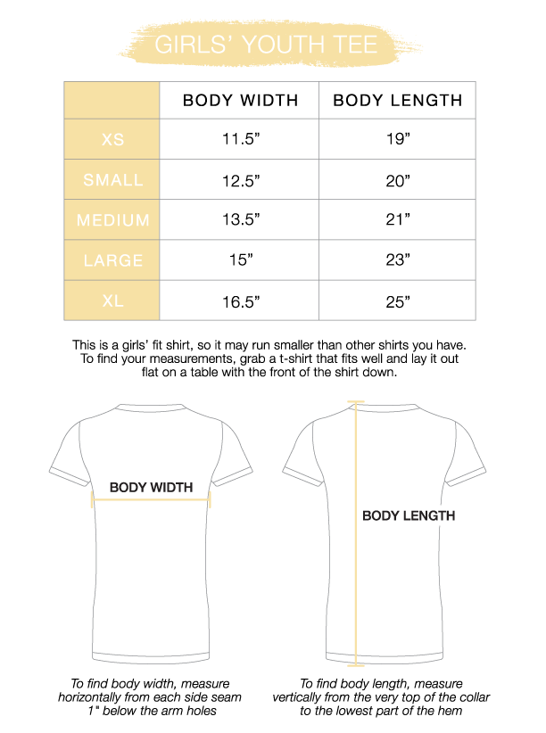 Youth Girls' Tee Size Chart