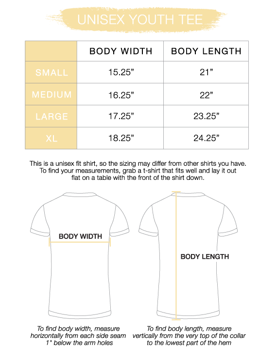Youth Unisex Tee Size Chart
