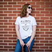 She is Clothed in Strength and Dignity Short Sleeve Christian Shirt-ellyandgrace