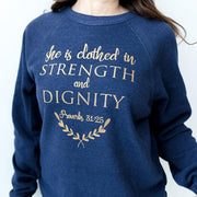 She is Clothed in Strength and Dignity Premium Fleece Pullover
