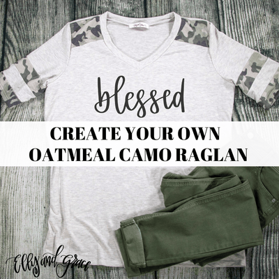 Create Your Own Premium Oatmeal Camo Raglan