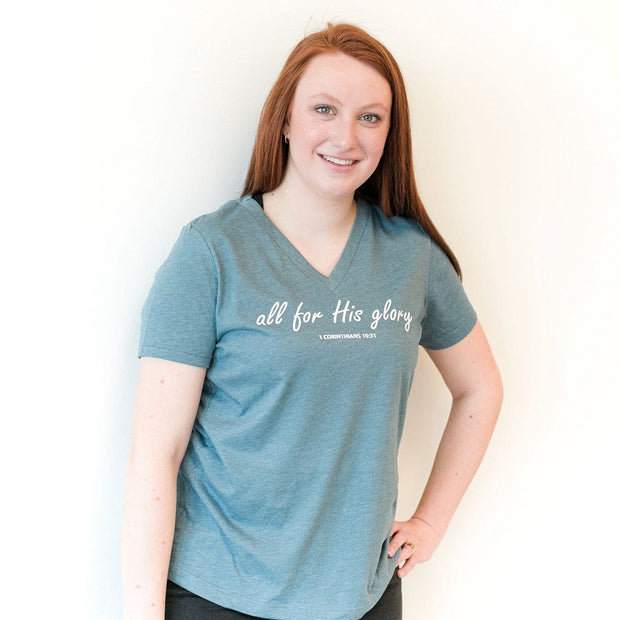 All for His Glory Ladies V-Neck