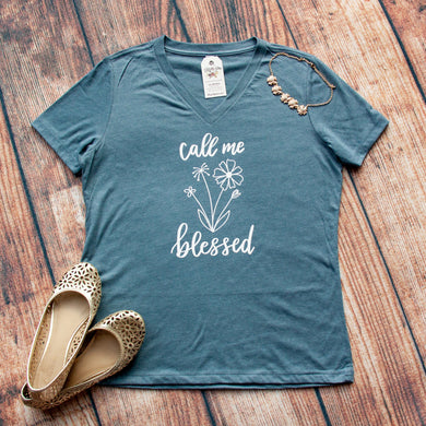 Call Me Blessed Relaxed Ladies Vneck
