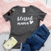 Blessed Mama Relaxed Ladies Vneck