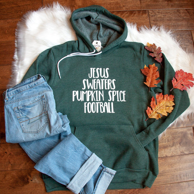 Jesus Sweaters Pumpkin Spice Football Premium Fleece Hoodie