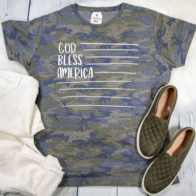 God Bless America Camo Ladies Short Sleeve Shirt