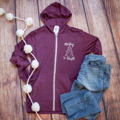 Merry and Bright Lightweight Zip up Hoodie