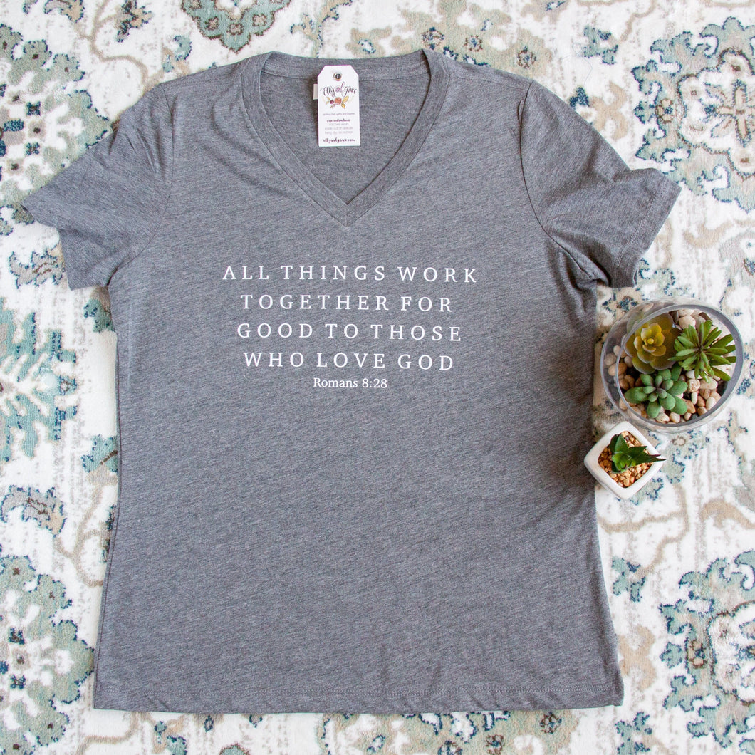 Romans 8:28 Relaxed Ladies Vneck