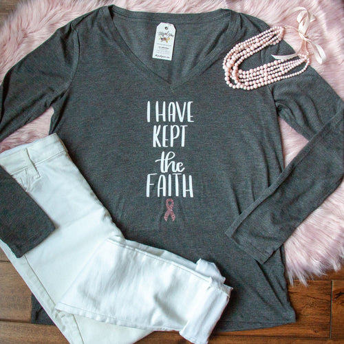 LIMITED EDITION - I Have Kept the Faith Breast Cancer Awareness Longsleeve V-Neck