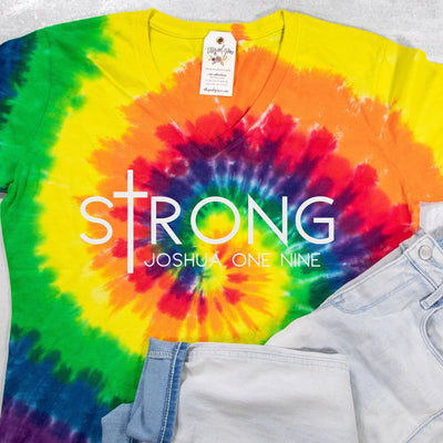 LIMITED EDITION sTrong Joshua 1:9 V-Neck Tie Dye Shirt