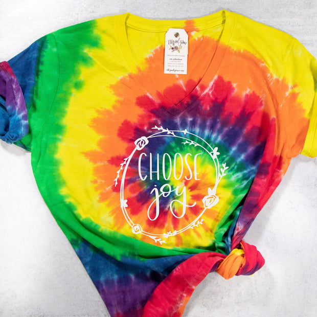 LIMITED EDITION Choose Joy V-Neck Tie Dye Shirt