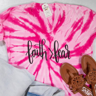 LIMITED EDITION Faith > Fear V-Neck Tie Dye Shirt
