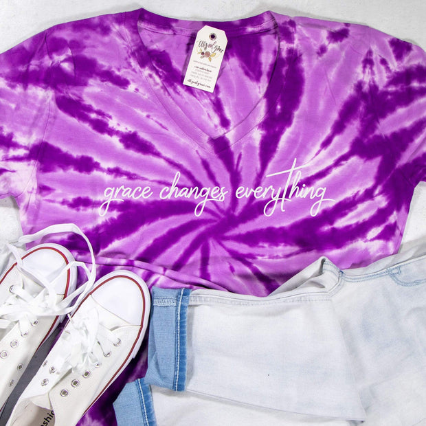 LIMITED EDITION Grace Changes Everything V-Neck Tie Dye Shirt