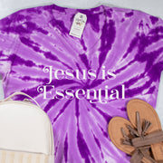 LIMITED EDITION Jesus is Essential V-Neck Tie Dye Shirt