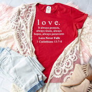 1 Corinthians 13 Love Ladies Short Sleeve Shirt