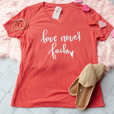 Love Never Fails Relaxed Ladies Vneck