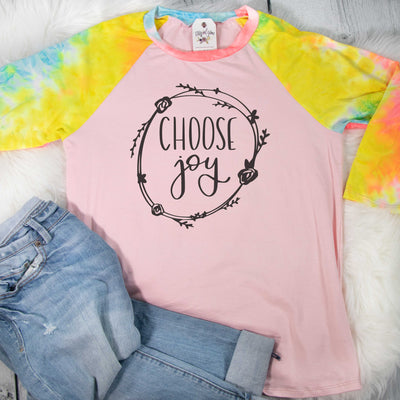 Choose Joy Premium Pink Tie Dye Raglan