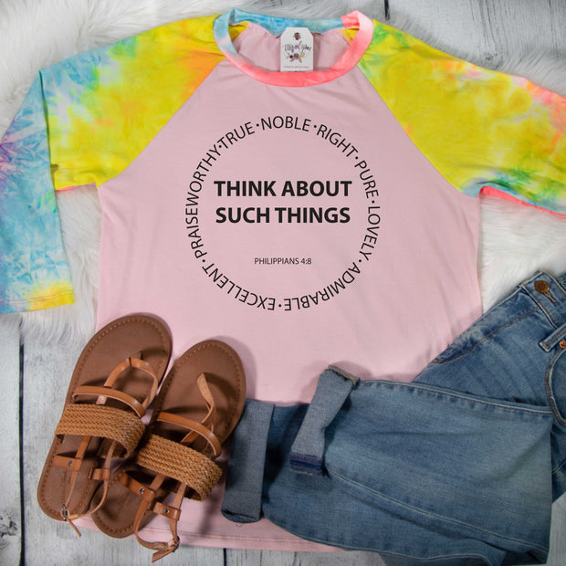 Think About Such Things Premium Pink Tie Dye Raglan