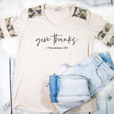 Give Thanks Premium Oatmeal Camo Raglan