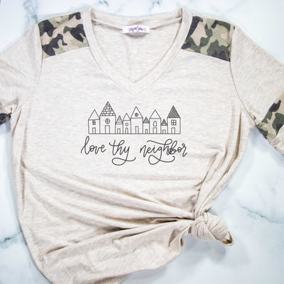 Love Thy Neighbor Premium Oatmeal Camo Raglan