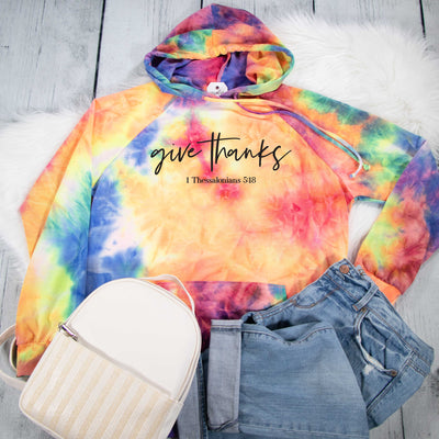 Give Thanks Premium Tie Dye Hoodie