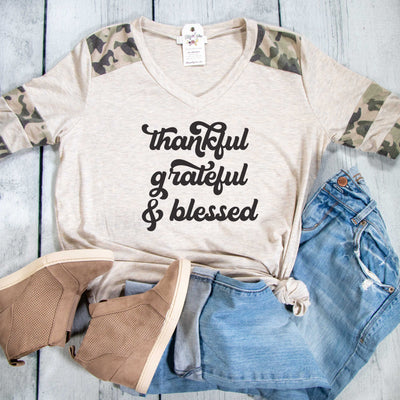 Thankful Grateful & Blessed Premium Oatmeal Camo Raglan