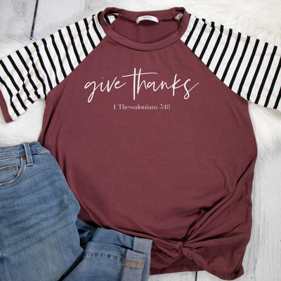 Give Thanks Premium Striped Raglan