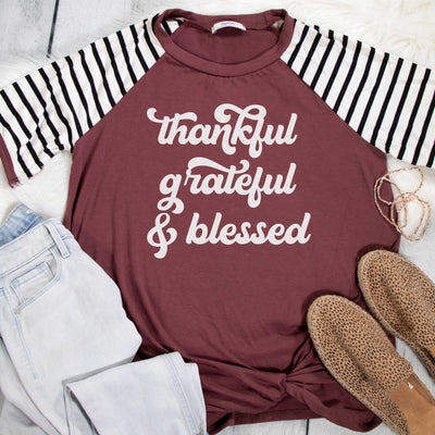 Thankful Grateful & Blessed Premium Striped Raglan