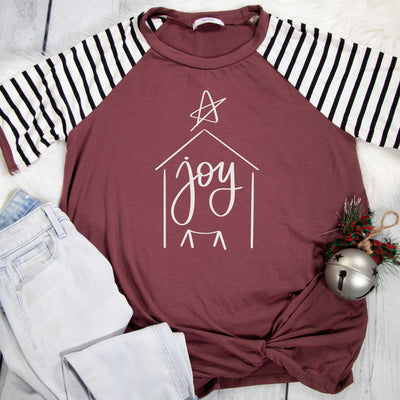 Joy Nativity Premium Striped Raglan