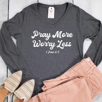 Pray More Worry Less Longsleeve V-Neck