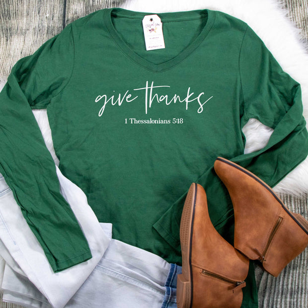 Give Thanks Longsleeve V-Neck