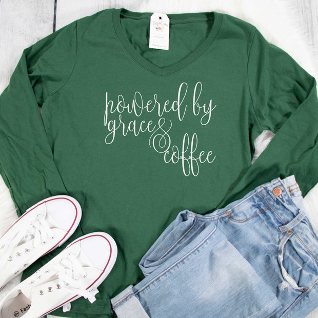 Powered by Grace and Coffee Longsleeve V-Neck