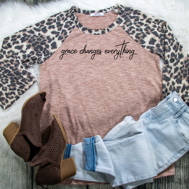 Grace Changes Everything Premium Leopard Raglan