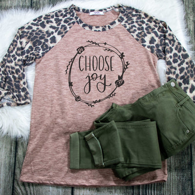 Choose Joy Premium Leopard Raglan