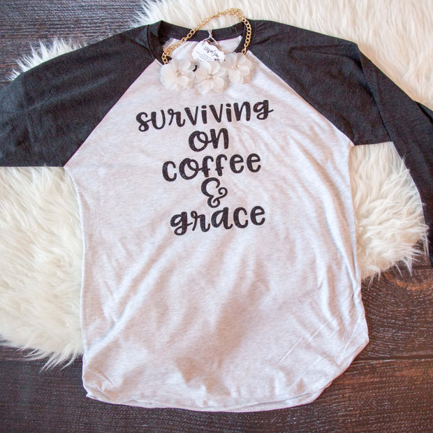 Surviving on Coffee and Grace Baseball Shirt-ellyandgrace