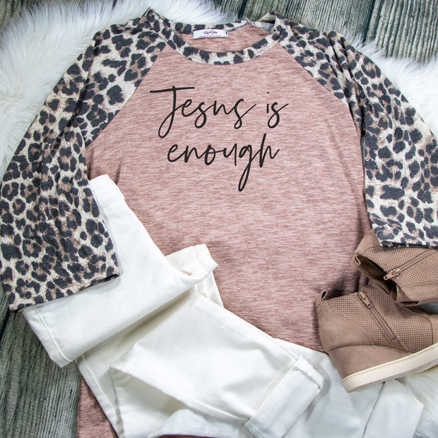 Jesus is Enough Premium Leopard Raglan