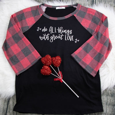 Do All Things with Great Love Premium Buffalo Raglan