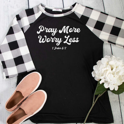 Pray More Worry Less Premium Plaid Raglan