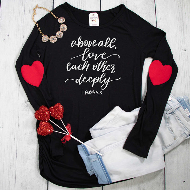 Above All Love Each Other Deeply Premium Heart Longsleeve Shirt