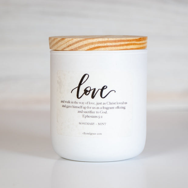LOVE Hand-Poured Glass Soy Candle