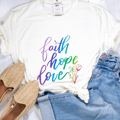 LIMITED EDITION Ombre Faith Hope Love Unisex Shirt