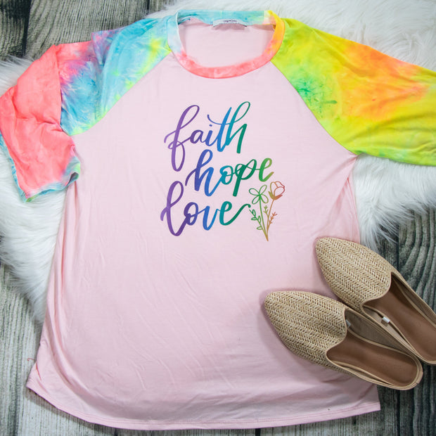 LIMITED EDITION Ombre Faith Hope Love Premium Pink Tie Dye Raglan