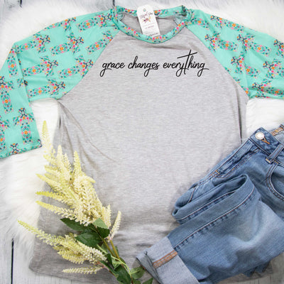 Grace Changes Everything Premium Floral Cross Raglan