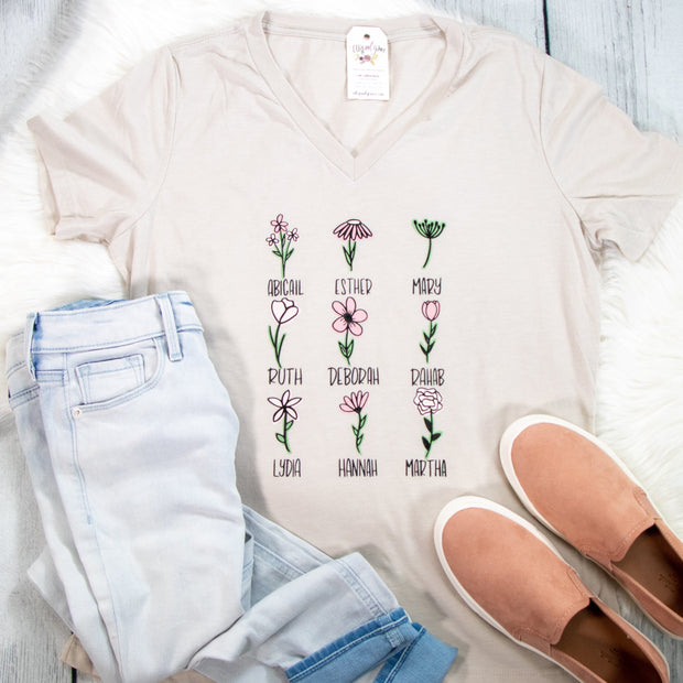 Floral Women of the Bible Ladies V-Neck