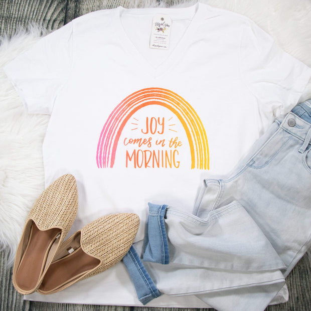 Joy Comes in the Morning Ladies V-Neck