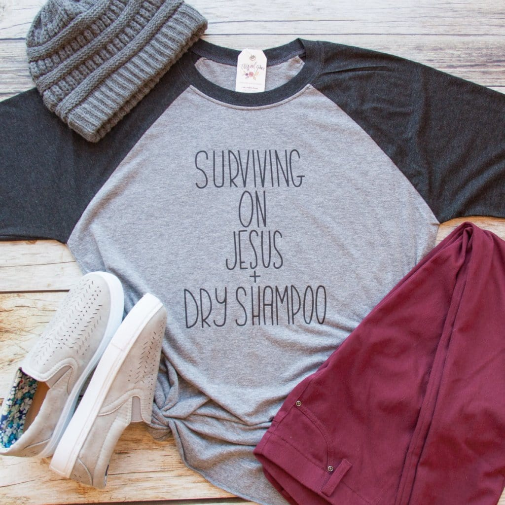 fefee51c1 Surviving on Jesus and Dry Shampoo Baseball Tee – ellyandgrace