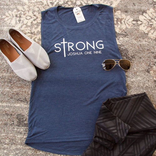sTrong Joshua 1:9 Ladies Muscle Tank - Christian shirt for women