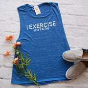 I Exercise (my faith) Ladies Muscle Tank-ellyandgrace