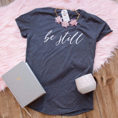 Be Still Triblend Christian Tee Shirt-ellyandgrace